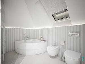 Classic beauty - Średnia szara łazienka na poddaszu w domu jednorodzinnym z oknem, styl klasyczny - zdjęcie od TEMA Architekci