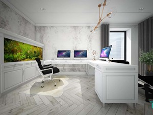 Classic beauty - Średnie szare białe biuro domowe w pokoju, styl klasyczny - zdjęcie od TEMA Architekci