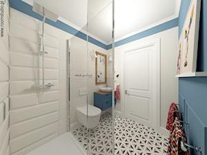 Biskupin Wrocław - Dom szeregowy - Średnia niebieska łazienka w bloku w domu jednorodzinnym bez okna, styl nowoczesny - zdjęcie od ROOM STUDIO