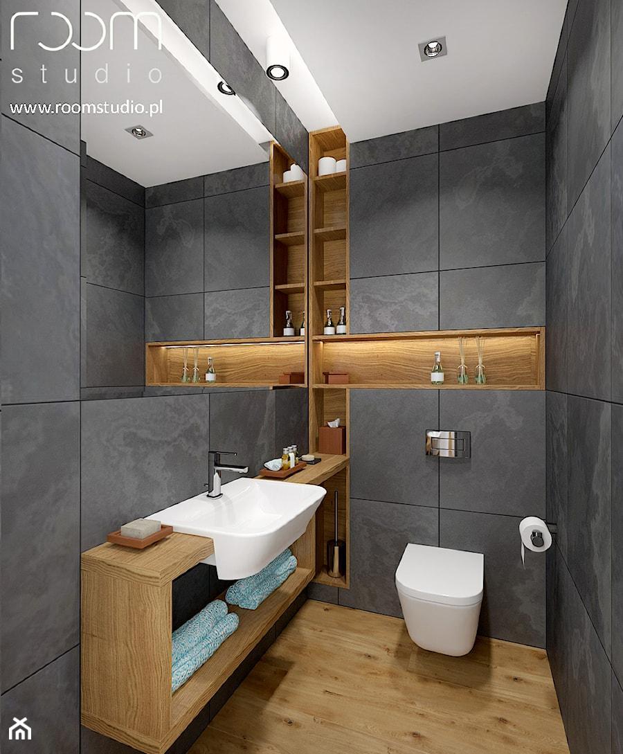 Dom jednorodzinny - Żerniki, Wrocław - Mała szara łazienka, styl nowoczesny - zdjęcie od ROOM STUDIO