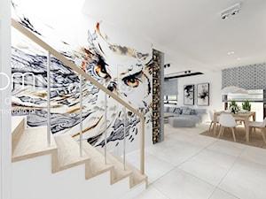 Salon z Sówką - Średnia otwarta biała jadalnia w salonie, styl skandynawski - zdjęcie od ROOM STUDIO