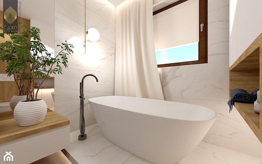 Łazienka z wanną - Mała duża biała łazienka w bloku w domu jednorodzinnym z oknem, styl nowoczesny - zdjęcie od ROOM STUDIO