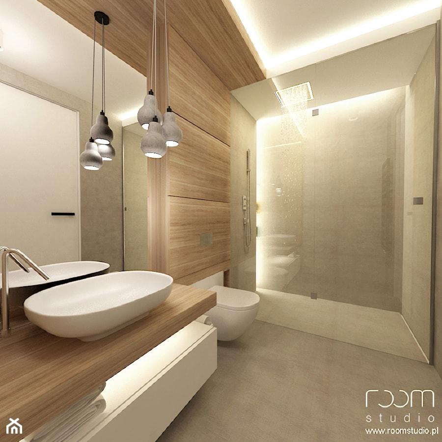 Mieszkanie w Poznaniu - Mała szara łazienka w bloku bez okna, styl nowoczesny - zdjęcie od ROOM STUDIO