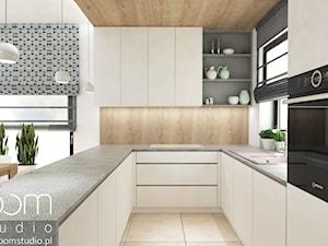 Salon z Sówką - Średnia otwarta biała beżowa kuchnia w kształcie litery u, styl skandynawski - zdjęcie od ROOM STUDIO