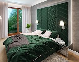 APARTAMENT przy parku w Legnicy - Średnia biała szara sypialnia małżeńska, styl nowojorski - zdjęcie od ROOM STUDIO - Homebook