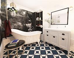 Biskupin Wrocław - Dom szeregowy - Duża biała czarna łazienka w bloku w domu jednorodzinnym bez okna, styl vintage - zdjęcie od ROOM STUDIO