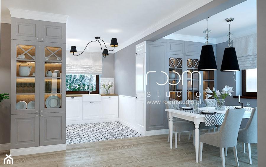 Dom jednorodzinny na Psim Polu, Wrocław - Średnia otwarta szara jadalnia w salonie, styl nowojorski - zdjęcie od ROOM STUDIO