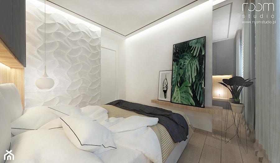 Mieszkanie w Poznaniu - Mała biała sypialnia małżeńska, styl skandynawski - zdjęcie od ROOM STUDIO