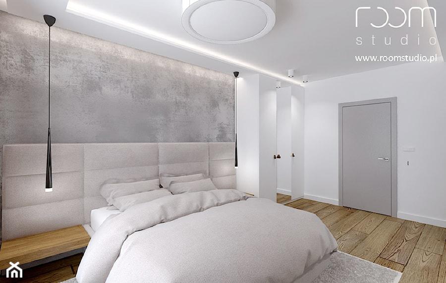 Dom jednorodzinny - Żerniki, Wrocław - Średnia biała szara sypialnia małżeńska, styl minimalistyczny - zdjęcie od ROOM STUDIO