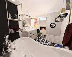 Biskupin Wrocław - Dom szeregowy - Duża biała czarna szara łazienka w bloku w domu jednorodzinnym jako salon kąpielowy z oknem, styl eklektyczny - zdjęcie od ROOM STUDIO