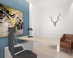 Ołtaszyn - Projekt domu - Małe niebieskie białe biuro pracownia w pokoju, styl nowojorski - zdjęcie od ROOM STUDIO