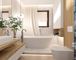 Łazienka z wanną - Średnia biała czarna łazienka w bloku w domu jednorodzinnym z oknem, styl nowocz ... - zdjęcie od ROOM STUDIO - Homebook