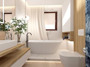 Łazienka z wanną - Średnia biała czarna łazienka w bloku w domu jednorodzinnym z oknem, styl nowoczesny - zdjęcie od ROOM STUDIO