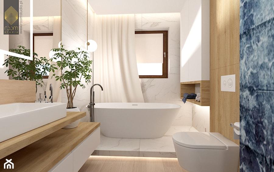 Łazienka z wanną - Średnia biała czarna łazienka w bloku w domu jednorodzinnym z oknem, styl nowocz ... - zdjęcie od ROOM STUDIO