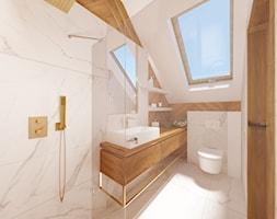Dom na Stabłowicach - Średnia biała łazienka na poddaszu z oknem, styl nowoczesny - zdjęcie od ROOM STUDIO - Homebook