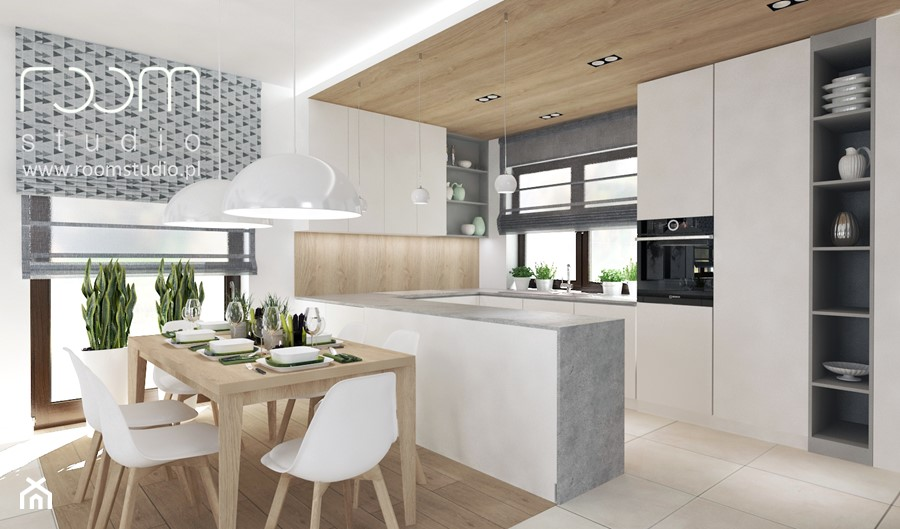 Salon z Sówką - Średnia otwarta biała beżowa jadalnia w kuchni, styl skandynawski - zdjęcie od ROOM STUDIO