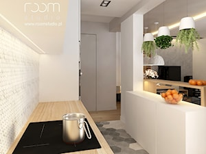 Mieszkanie w Poznaniu - Mała biała kuchnia jednorzędowa, styl nowoczesny - zdjęcie od ROOM STUDIO