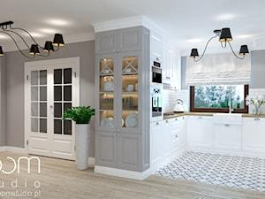 Dom jednorodzinny na Psim Polu, Wrocław - Średnia otwarta szara kuchnia w kształcie litery u, styl nowojorski - zdjęcie od ROOM STUDIO