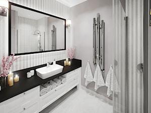 APARTAMENT przy parku w Legnicy - Średnia biała szara łazienka bez okna, styl klasyczny - zdjęcie od ROOM STUDIO