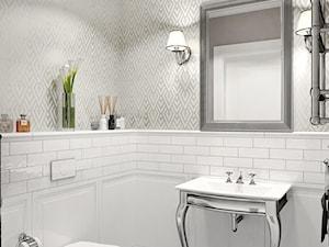 Dom jednorodzinny na Psim Polu, Wrocław - Średnia biała szara łazienka w bloku w domu jednorodzinnym bez okna, styl glamour - zdjęcie od ROOM STUDIO