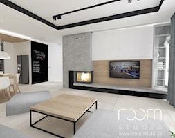 Salon z Sówką - Duży biały salon z kuchnią z jadalnią, styl skandynawski - zdjęcie od ROOM STUDIO - Homebook