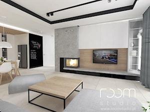 Salon z Sówką - Duży biały salon z kuchnią z jadalnią, styl skandynawski - zdjęcie od ROOM STUDIO