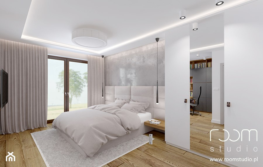 Dom jednorodzinny - Żerniki, Wrocław - Średnia duża biała szara sypialnia małżeńska, styl nowoczesny - zdjęcie od ROOM STUDIO