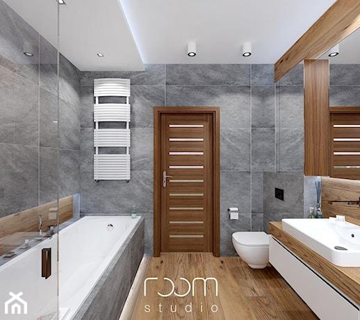 łazienka Szara Z Drewnem średnia Szara łazienka W Domu