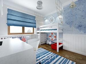 Pokoje dziecięce - Duży biały niebieski pokój dziecka dla chłopca dla dziewczynki dla ucznia dla malucha, styl eklektyczny - zdjęcie od ROOM STUDIO