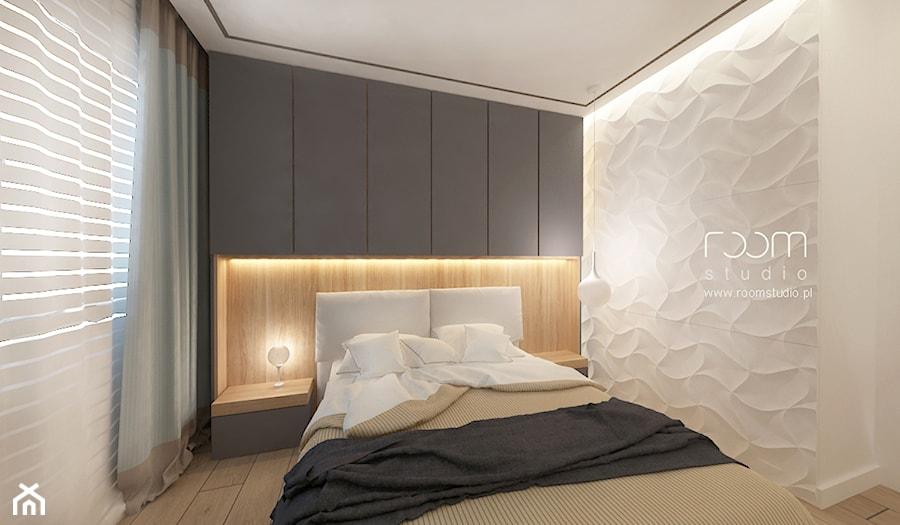 Mieszkanie w Poznaniu - Mała biała sypialnia małżeńska, styl minimalistyczny - zdjęcie od ROOM STUDIO