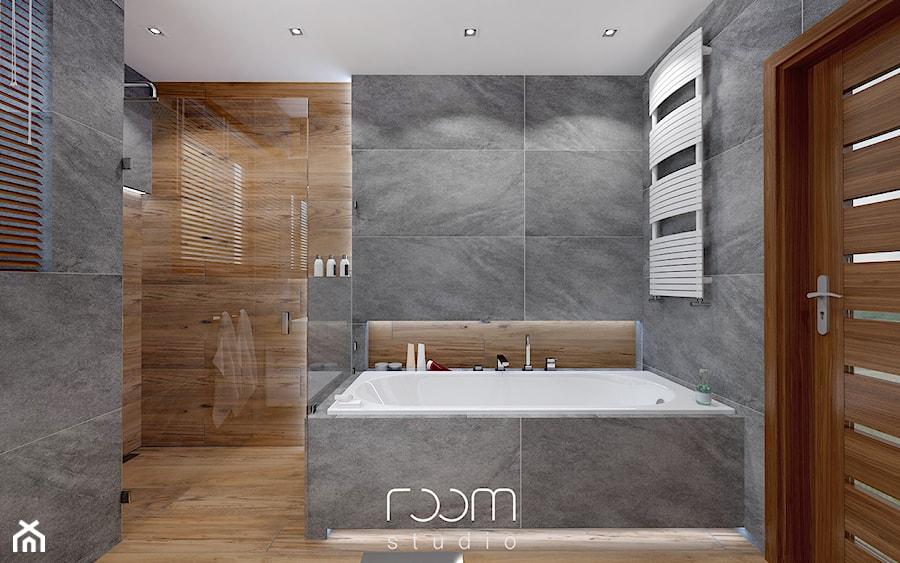 łazienka Szara Z Drewnem Mała średnia łazienka W Domu