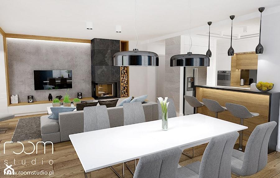 Dom jednorodzinny - Żerniki, Wrocław - Duża otwarta jadalnia w salonie, styl nowoczesny - zdjęcie od ROOM STUDIO