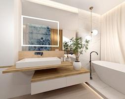 Łazienka z wanną - Średnia biała łazienka w bloku w domu jednorodzinnym z oknem, styl nowoczesny - zdjęcie od ROOM STUDIO - Homebook