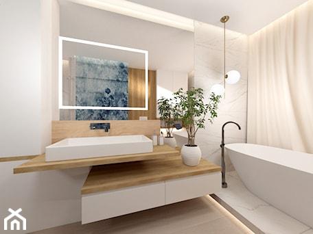 Aranżacje wnętrz - Łazienka: Łazienka z wanną - Średnia biała łazienka w bloku w domu jednorodzinnym z oknem, styl nowoczesny - ROOM STUDIO. Przeglądaj, dodawaj i zapisuj najlepsze zdjęcia, pomysły i inspiracje designerskie. W bazie mamy już prawie milion fotografii!