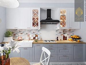 Kuchnia w dwóch odsłonach - Średnia zamknięta szara kuchnia jednorzędowa, styl vintage - zdjęcie od ROOM STUDIO