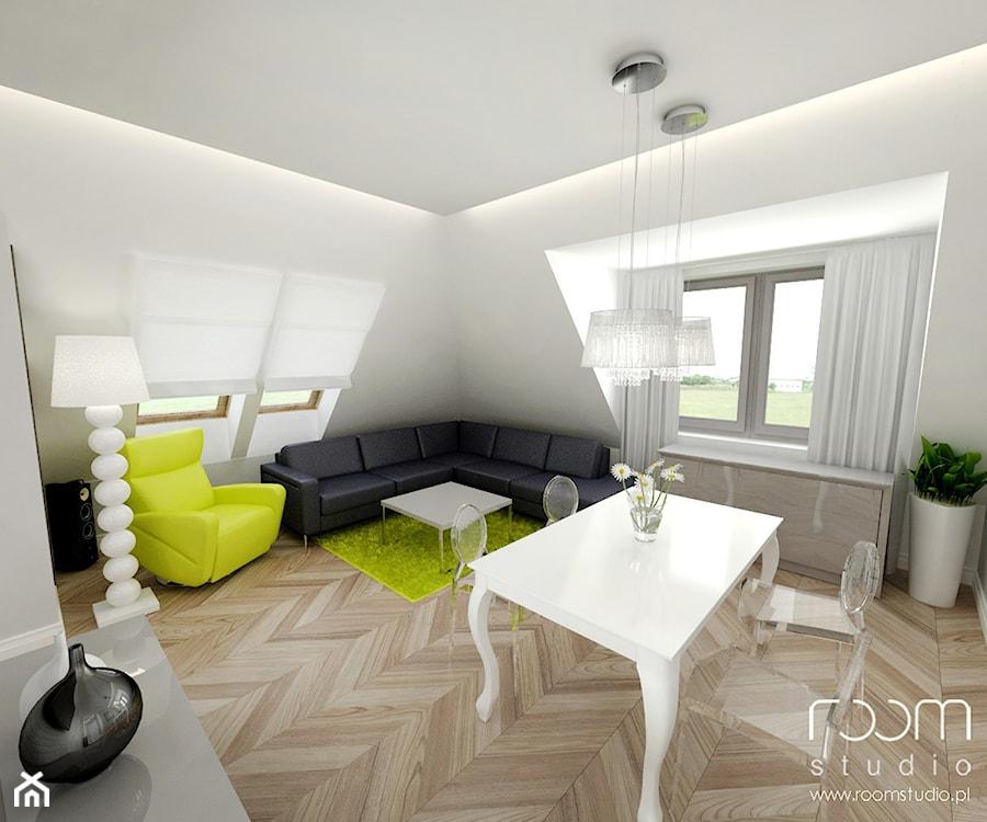 Mieszkanie na poddaszu, Hallera, Wrocław - Duży biały salon z jadalnią, styl eklektyczny - zdjęcie od ROOM STUDIO