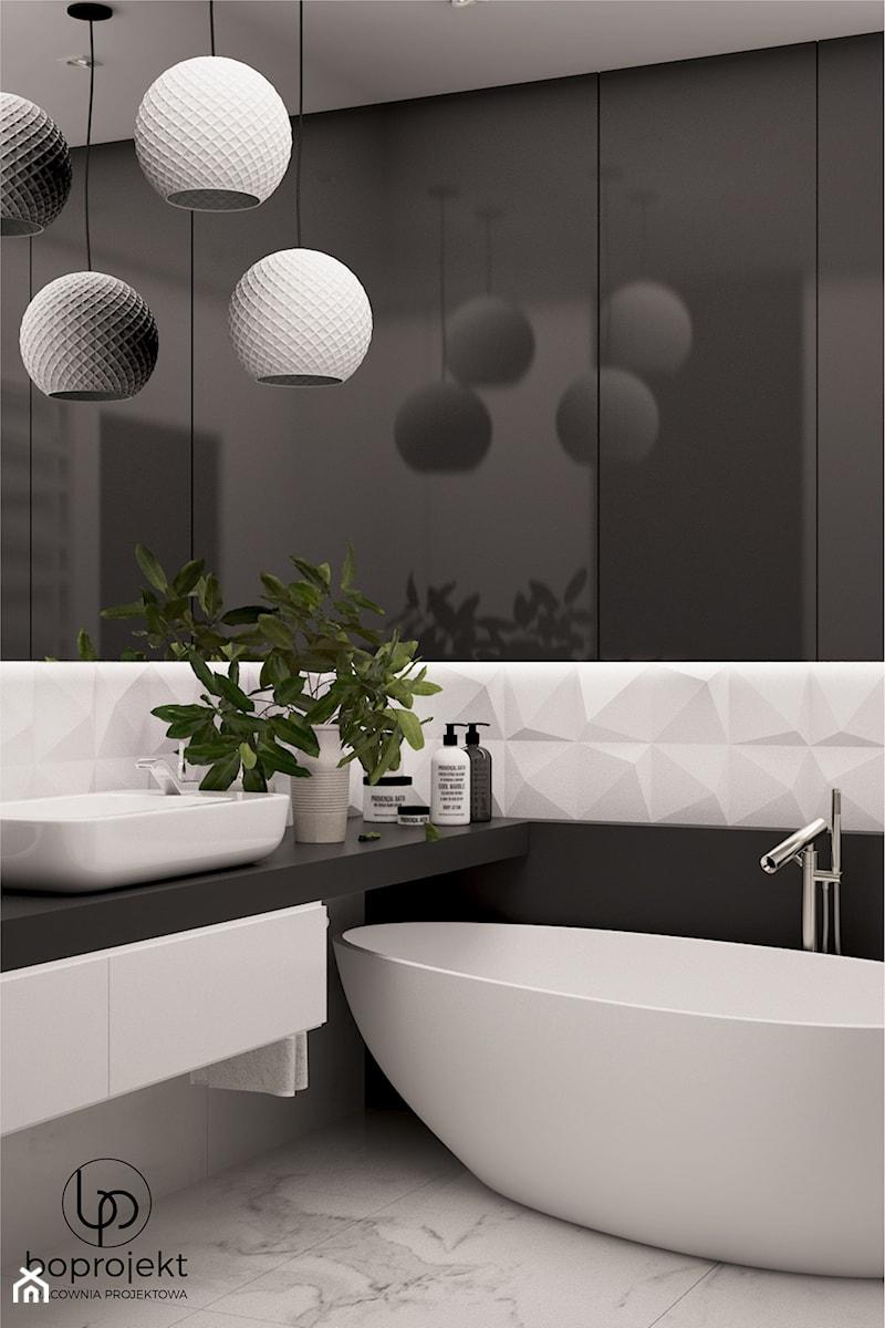 Łazienka czarno biała - zdjęcie od BOPROJEKT Pracownia Projektowa
