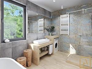 Łazienka - Kępno - Średnia łazienka w bloku w domu jednorodzinnym z oknem, styl nowoczesny - zdjęcie od ARCHISTIK Studio Projektowe
