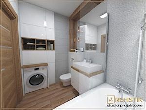 M3 - Wrocław - Wysoka - Mała szara łazienka w bloku bez okna, styl skandynawski - zdjęcie od ARCHISTIK Studio Projektowe