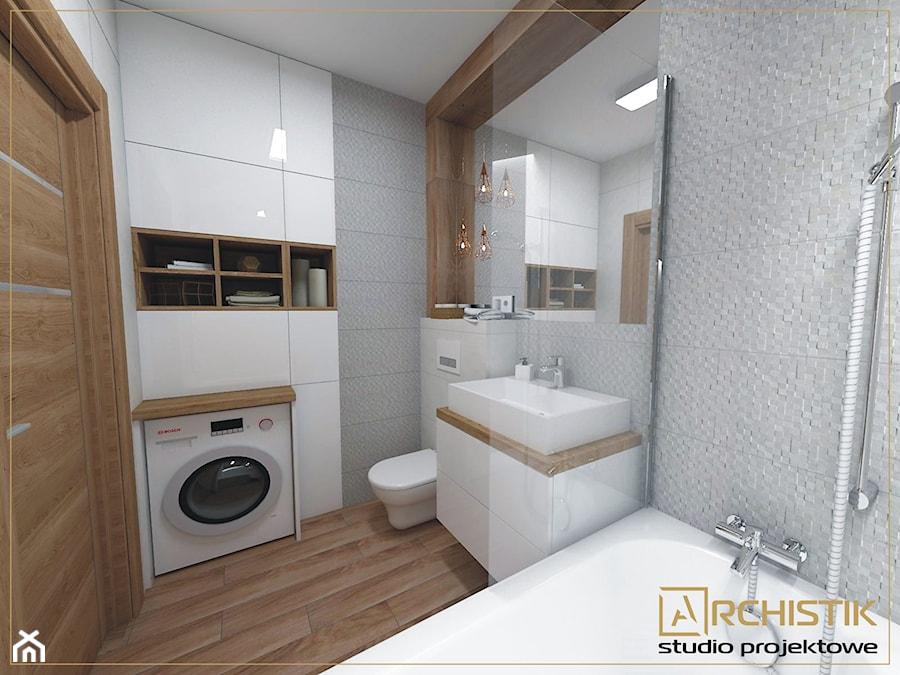 Aranżacje wnętrz - Łazienka: M3 - Wrocław - Wysoka - Mała szara łazienka w bloku bez okna, styl skandynawski - ARCHISTIK Studio Projektowe. Przeglądaj, dodawaj i zapisuj najlepsze zdjęcia, pomysły i inspiracje designerskie. W bazie mamy już prawie milion fotografii!
