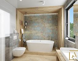 Łazienka - Kępno - Średnia kolorowa łazienka w bloku w domu jednorodzinnym z oknem, styl nowoczesny - zdjęcie od ARCHISTIK Studio Projektowe - Homebook