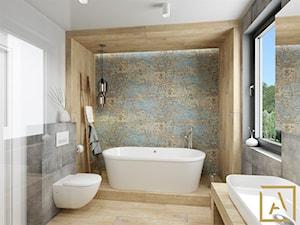 Łazienka - Kępno - Średnia kolorowa łazienka w bloku w domu jednorodzinnym z oknem, styl nowoczesny - zdjęcie od ARCHISTIK Studio Projektowe
