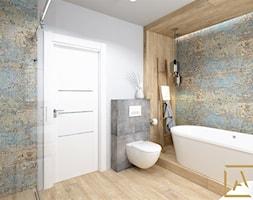 Łazienka - Kępno - Średnia biała szara łazienka w bloku w domu jednorodzinnym bez okna, styl nowoczesny - zdjęcie od ARCHISTIK Studio Projektowe - Homebook
