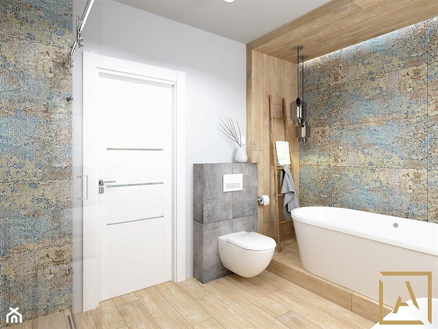 Łazienka - Kępno - Średnia biała szara łazienka w bloku w domu jednorodzinnym bez okna, styl nowoczesny - zdjęcie od ARCHISTIK Studio Projektowe