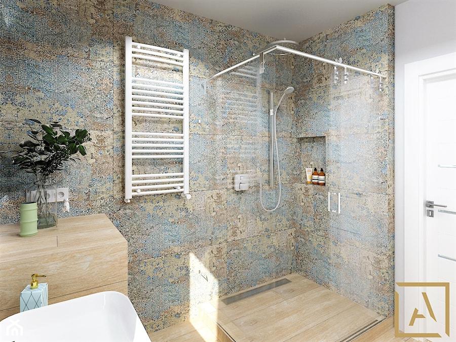 Łazienka - Kępno - Mała szara łazienka w bloku w domu jednorodzinnym bez okna, styl nowoczesny - zdjęcie od ARCHISTIK Studio Projektowe