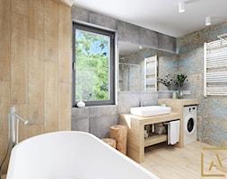 Łazienka - Kępno - Duża łazienka w bloku w domu jednorodzinnym z oknem, styl nowoczesny - zdjęcie od ARCHISTIK Studio Projektowe - Homebook