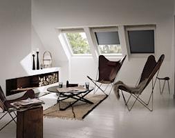 Rolety zewnętrzne - Mały biały salon, styl skandynawski - zdjęcie od VELUX - Homebook