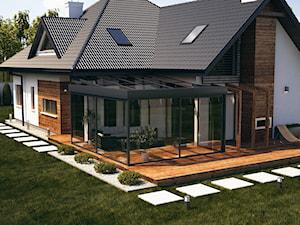 wizualizacje 2 - Duży taras z tyłu domu, styl tradycyjny - zdjęcie od ALPINA Ogrody zimowe ,. oranżerie, zadaszenia, szkło architektoniczne