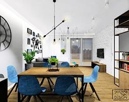 STREFA DZIENNA MIESZKANIE KATOWICE - Średnia otwarta biała szara jadalnia w salonie, styl industrialny - zdjęcie od SKAZANI NA DESIGN Studio Architektury