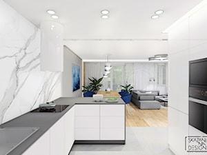 DOM RUDA ŚLĄSKA - Średnia otwarta szara kuchnia w kształcie litery g w aneksie z oknem, styl nowoczesny - zdjęcie od SKAZANI NA DESIGN Studio Architektury